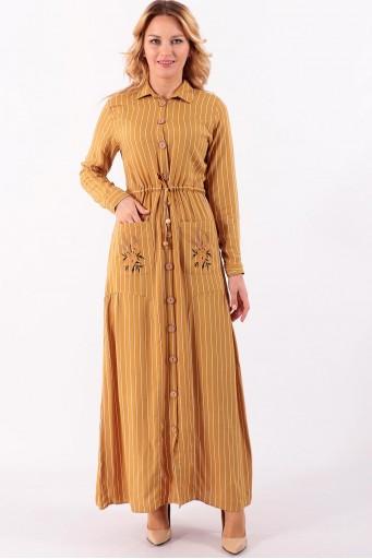 Uzun Elbise Çizgili Boydan