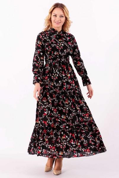 Balon Kol Çiçekli Yazlık Elbise