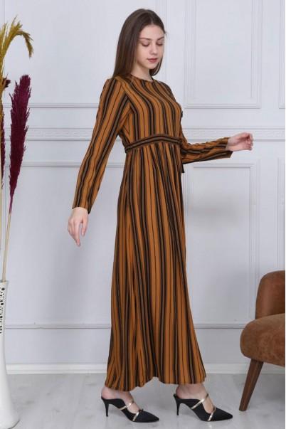 Boydan Düğmeli Çizgili Elbise Kiremit