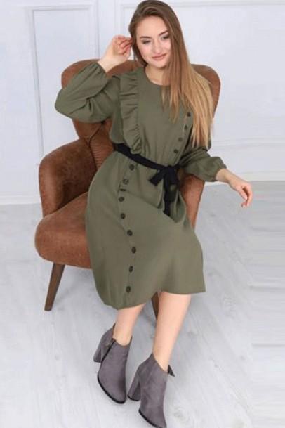 Fırfırlı Kadın Elbise Haki