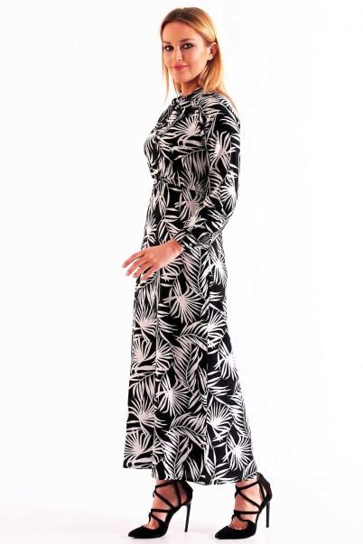 Kadın Elbise Palmiye Desenli