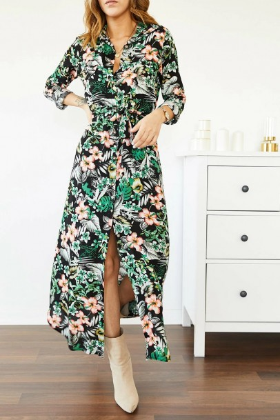 Kadın Elbise Gömlek Yaka Çiçek Desenli