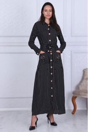 Siyah Boydan Düğmeli Çizgili Elbise