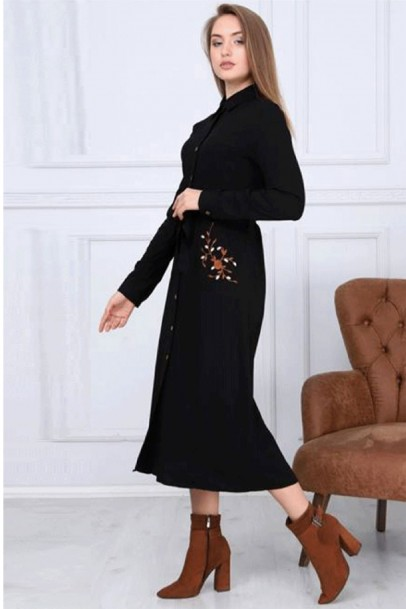 Kadın Büyük Beden Elbise Boydan Düğmeli