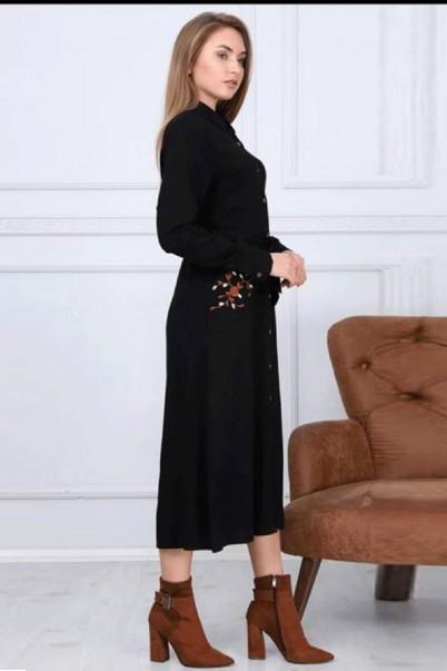 Siyah Kadın Elbise Düğmeli