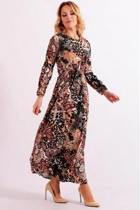 Uzun Yazlık Elbise Leopar Desenli