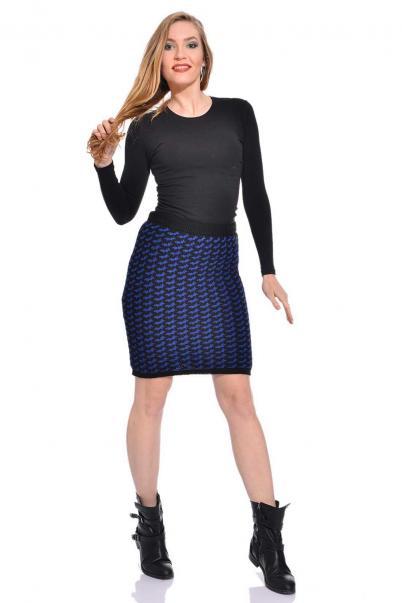 Saks siyah desenli triko bayan kalem etek