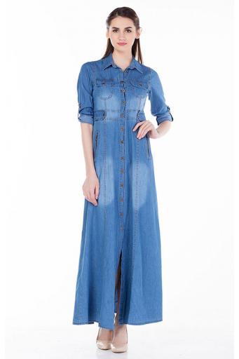 Battal Beden uzun Fermuarlı Kot Elbise