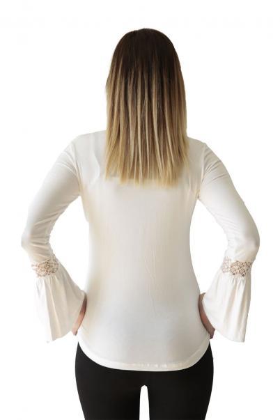 Bayan Bluz Beyaz Kol Detaylı