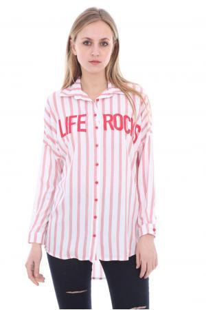 Bayan Çizgili Gömlek Life Yazılı Nar
