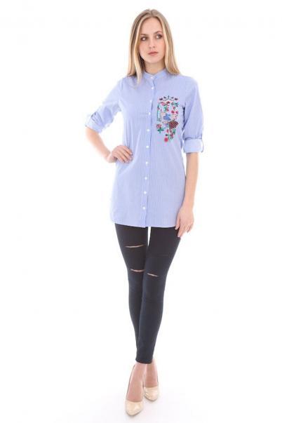 Bayan Gömlek Çizgili Nakış Detaylı Mavi