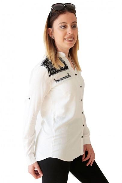 Bayan Spor Gömlek Nakışlı Cepli