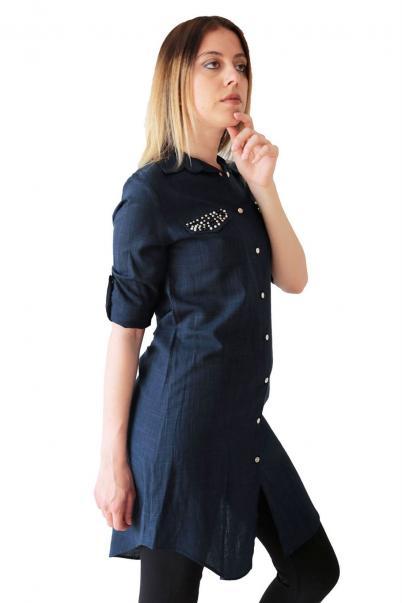 Bayan Keten Tunik Gömlek Cepli Taşlı