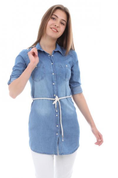 Bayan Mavi Kot Gömlek Modelleri Kemerli