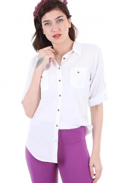 Cepli Beyaz Bayan Gömlek
