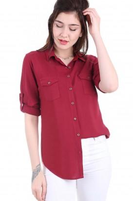 Cepli Kırmızı Bayan Gömlek