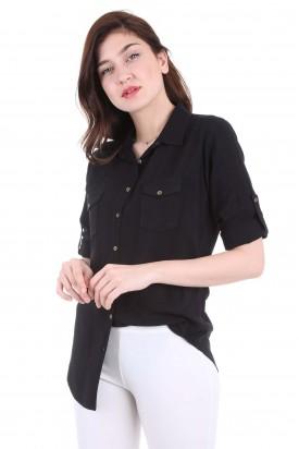 Cepli Siyah Bayan Gömlek