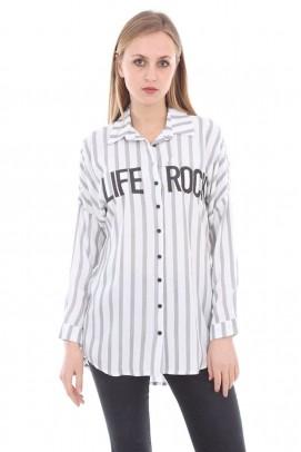 Çizgili Life Yazılı Siyah Gömlek