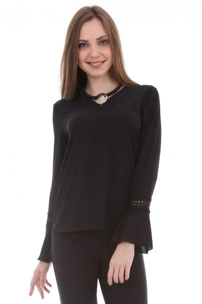 İspanyol Kol Detaylı Siyah Bluz