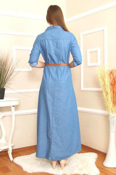 Battal Beden uzun Nakışlı Kot Elbise