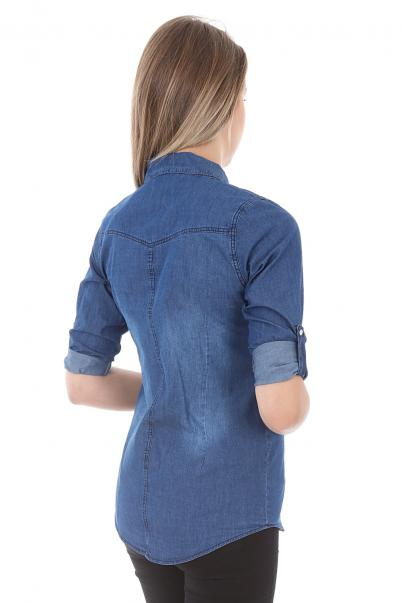 Büyük Beden Kadın Kot Gömlek - Kot Gömlek