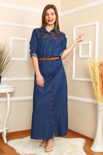 Büyük Beden Uzun Nakışlı Lacivert Kot Elbise