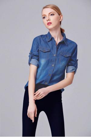 Kadın Kot Gömlek Yıkamalı Lacivert