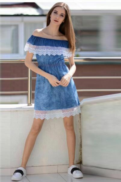 Kayık Yaka Kot Elbise