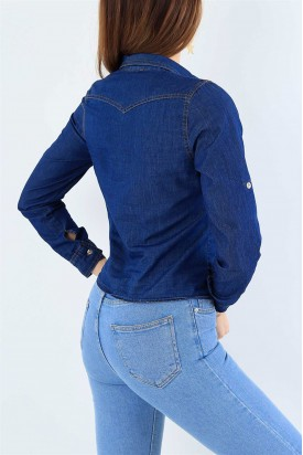 Mavi Bayan Kot Gömlek Bağlamalı