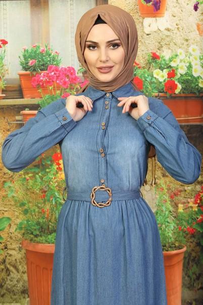 Tesettür Kot Elbise Fırfırlı Model