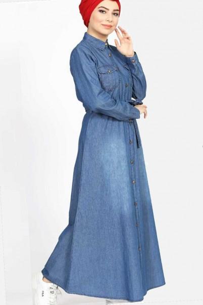 Tesettür Kot Elbise Uzun Düğmeli