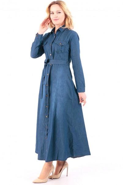 Uzun Düğmeli Kot Elbise