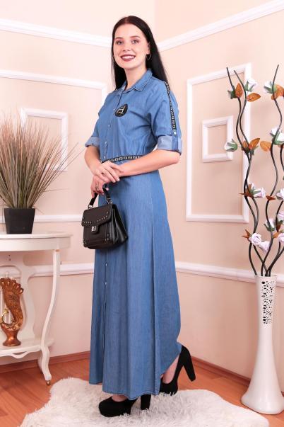 Uzun Önden Düğmeli Kot Elbise