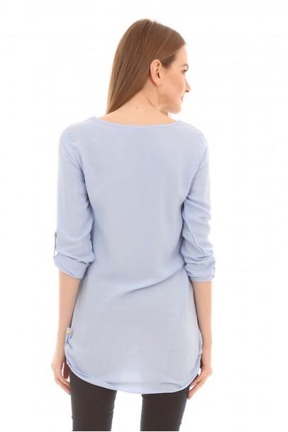 Mavi Bluz Yan Apoletli Düğme Detaylı