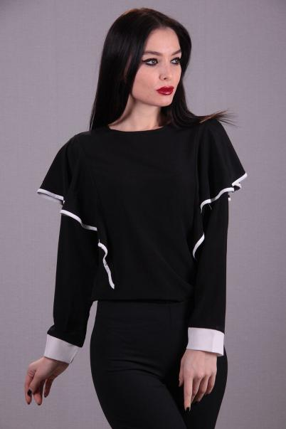 Siyah Beyaz Karneli Bluz