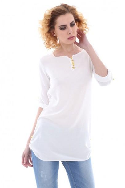 Yan Apoletli Beyaz Bayan Bluz