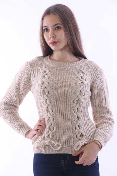 Bayan Triko Kazak bağcık detaylı Taş Rengi