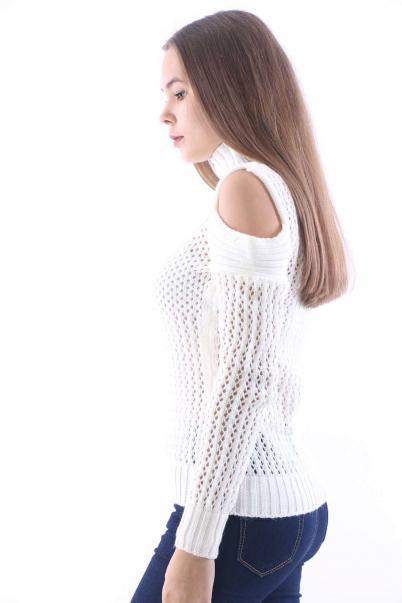 Bayan Triko Kazak Kemik kolu aynalı ajurlu