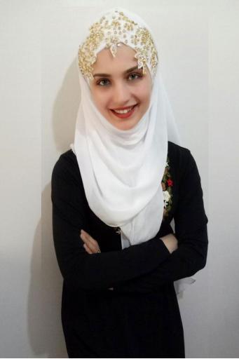 Bayan Şal Boneli Ekru Nakış Taşlı