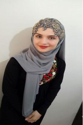 Bayan Şal Boneli Griy Nakış Taşlı