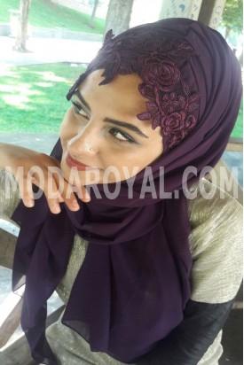 Bayan Şal Boneli mor