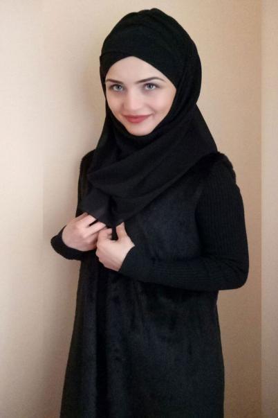 Bayan Şal Boneli Siyah