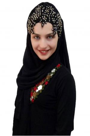 Bayan Şal Boneli Siyah Nakış Taşlı
