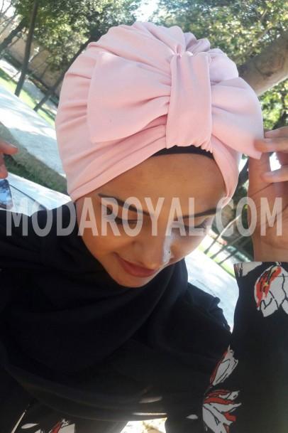 Bayan Tesettür Şal Boneli pudra