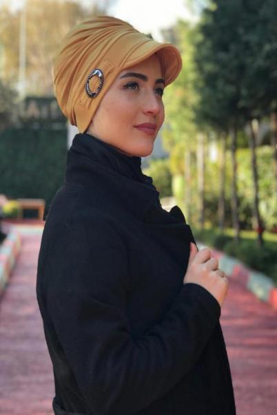 Tesettür Şapka Gold Boneli