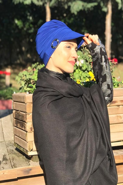 Tokalı Şapka Bone  Sax Mavisi