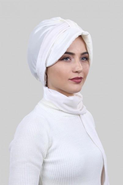 Kadife Şapka Bone Şal Beyaz