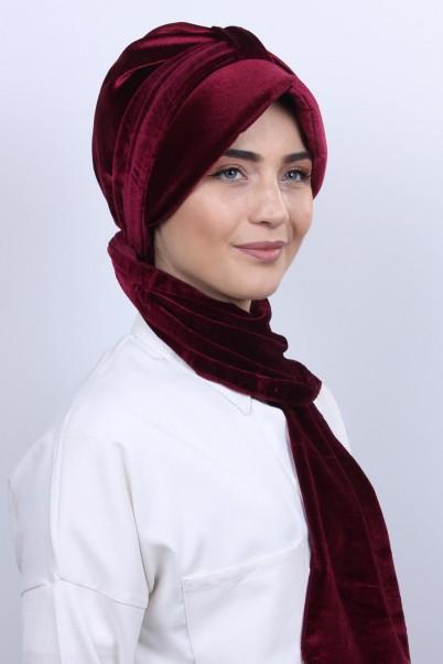 Kadife Şapka Bone Şal Bordo