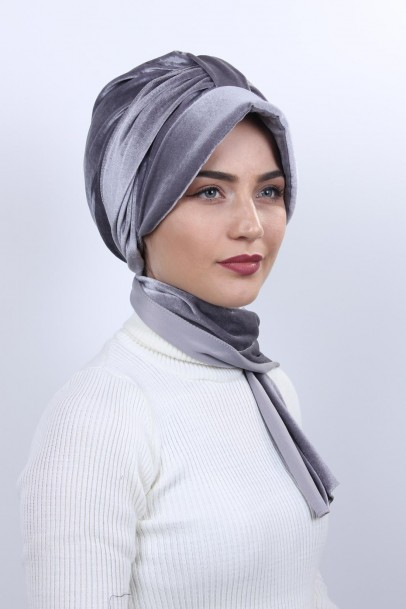 Kadife Şapka Bone Şal Gümüş