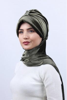 Kadife Şapka Bone Şal Haki